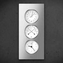 Carus CAELA - Thermo Baro Hygrometer Uhr Silber